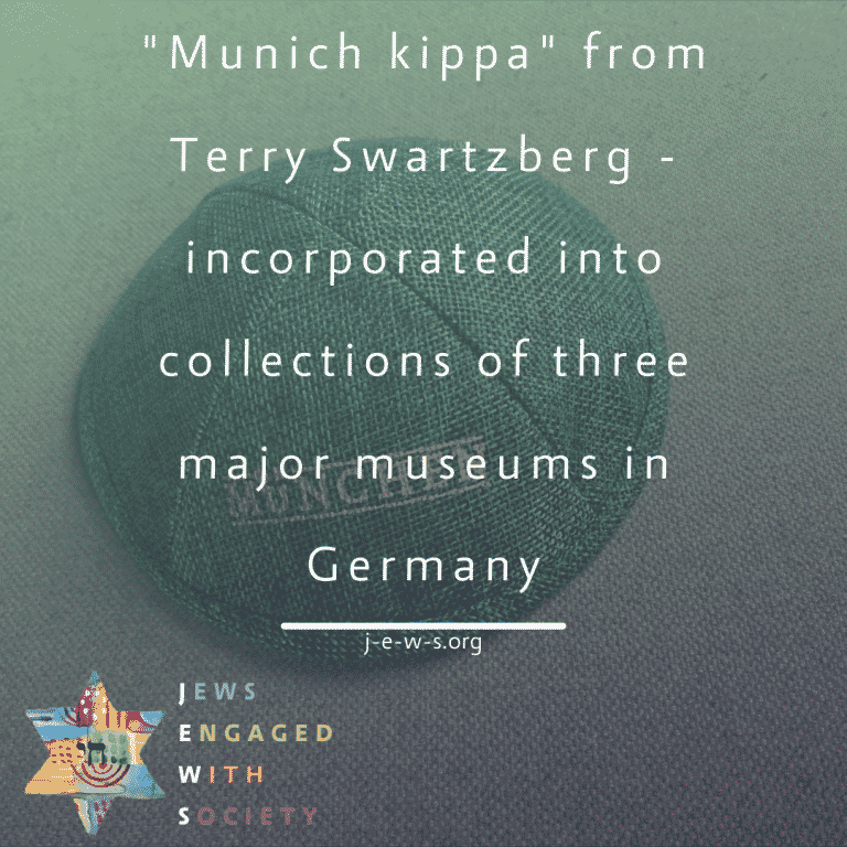"""""""Munich kippa"""" from Terry Swartzberg  – incorporated into collections of three major museums in Germany"""