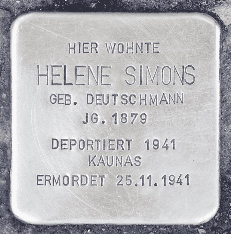 Helene Simons wurde mit 998 anderen Münchner Juden am 25. November 1941 in Kaunas ermordet.